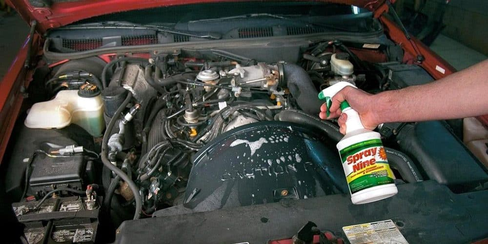 how to power wash a car engine
